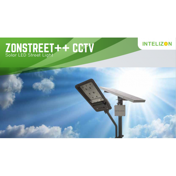 30 watt Intelizon Zonstreet Li++ Solar LED Street Lights with CCTV camera and Hotspot