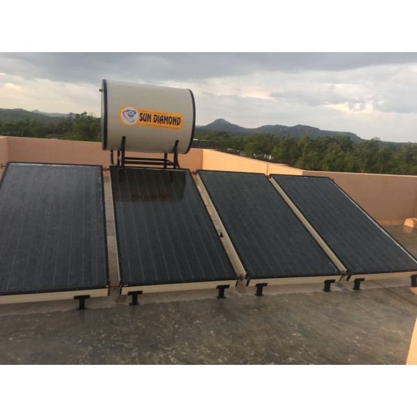 500 LPD FPC Sun Diamond Non-Pressurized Solar Water Heater With Stainless Steel Tank